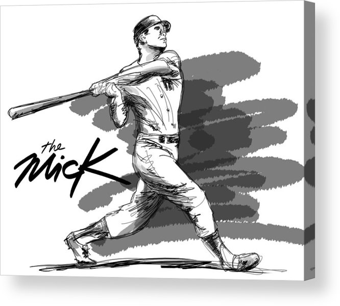 The Mick Acrylic Print featuring the drawing The Mick by Ron Regalado