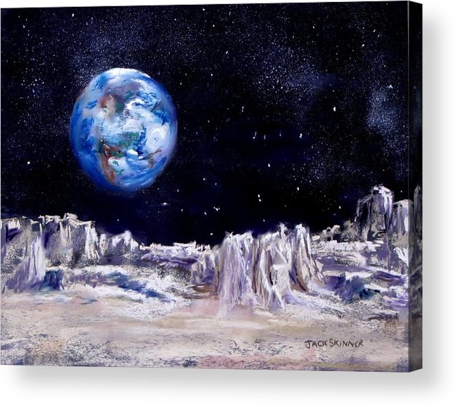 Moon Acrylic Print featuring the painting The Moon Rocks by Jack Skinner