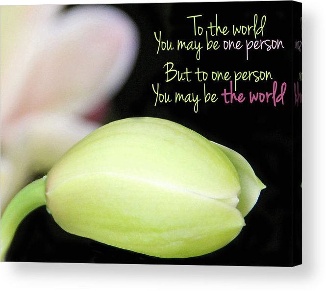 Becky Acrylic Print featuring the photograph To The World You May Be One Person by Becky Lodes