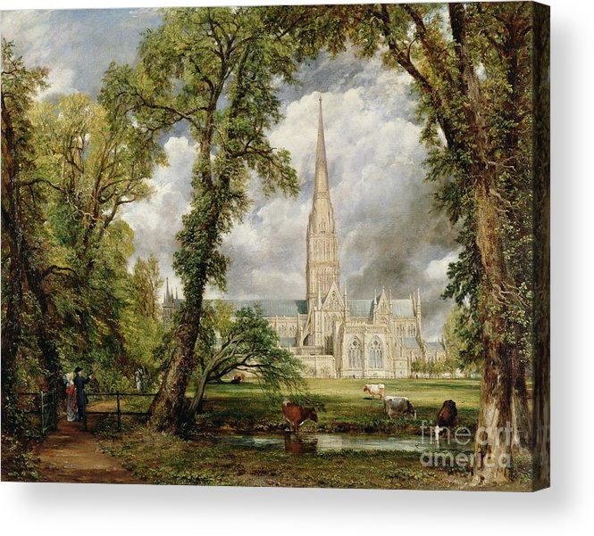 View Of Salisbury Cathedral From The Bishops Grounds Acrylic Print featuring the painting View Of Salisbury Cathedral From The Bishop's Grounds by John Constable