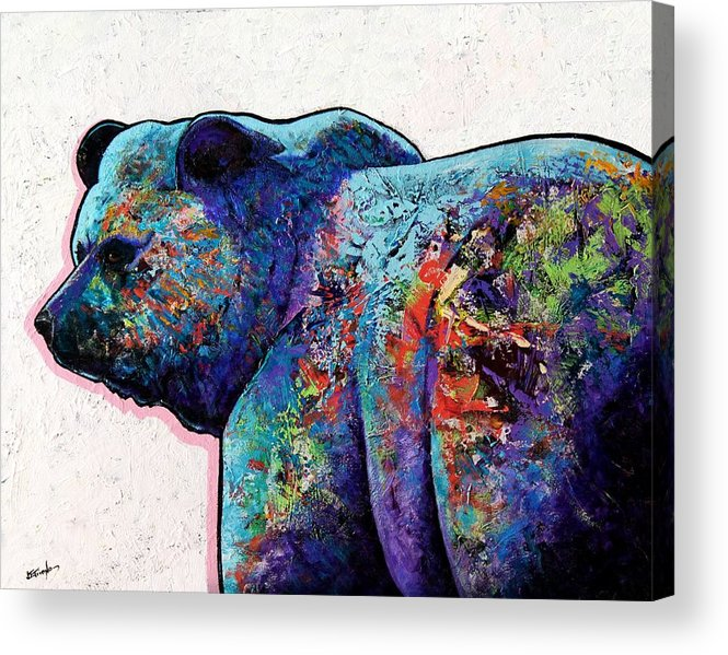 Wildlife Acrylic Print featuring the painting Watchful Eyes - Grizzly Bear by Joe Triano