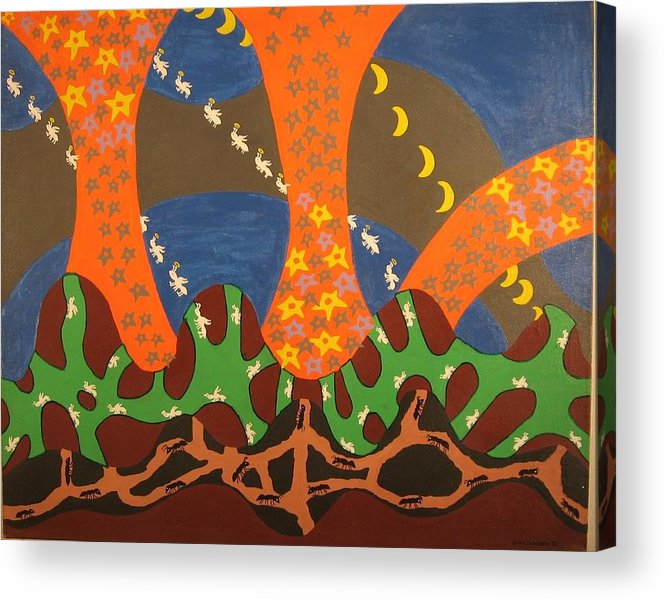 Ants Acrylic Print featuring the painting Where Are The Uncles ? by Erika Chamberlin