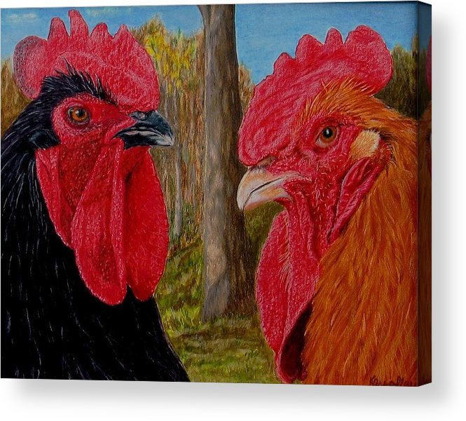 Roosters Acrylic Print featuring the painting Who You Calling Chicken by Karen Ilari
