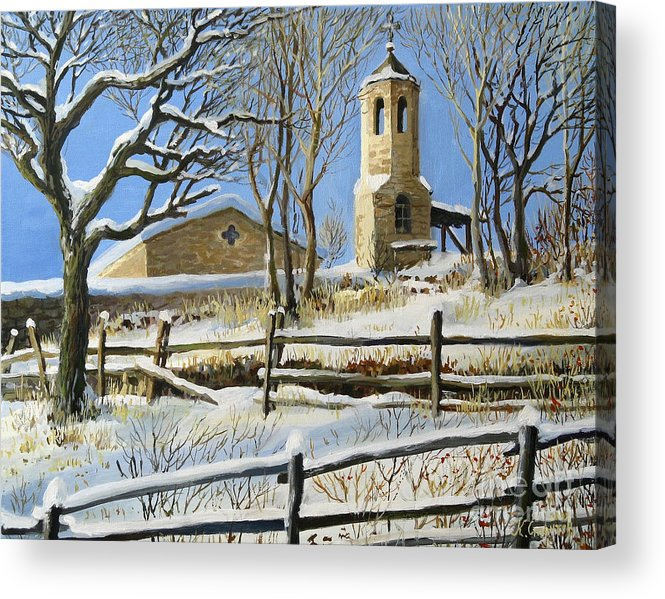Architecture Acrylic Print featuring the painting Winter In Stoykite by Kiril Stanchev