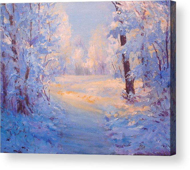 Landscape Acrylic Print featuring the painting Winter Path. by Julia Utiasheva