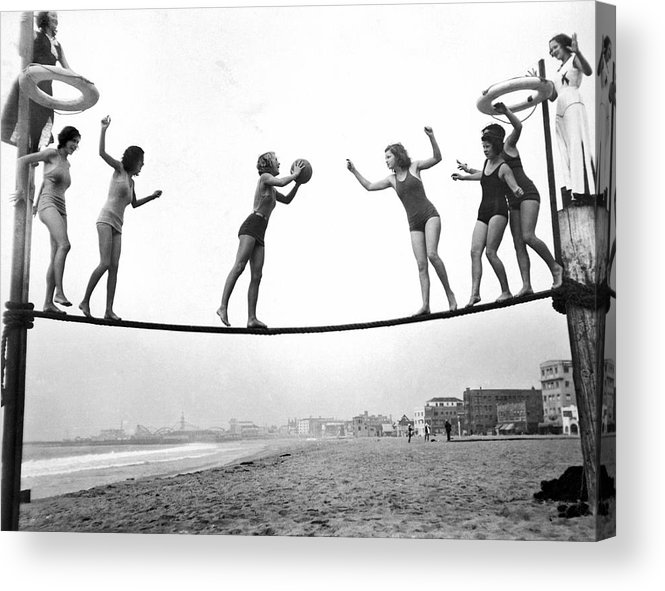 1035-671 Acrylic Print featuring the photograph Women Play Beach Basketball by Underwood Archives