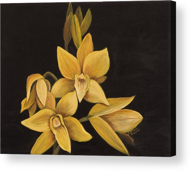 Hawaiian Flower Acrylic Print featuring the painting Yellow Orchid by Darice Machel McGuire