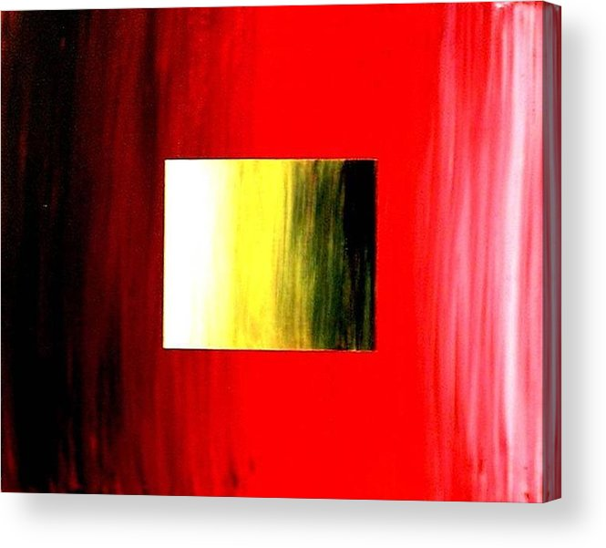 Abstract Acrylic Print featuring the painting Abstract 3d Golden Red Square by Teo Alfonso
