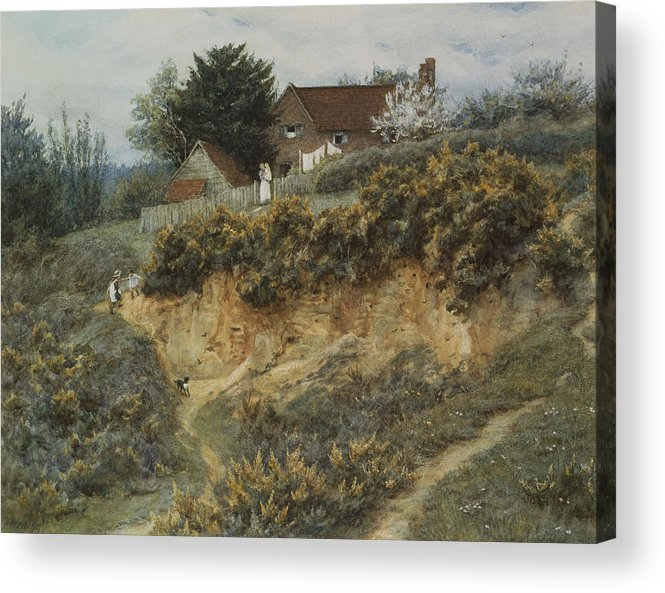 English; Landscape; Rural; C19th; C20th; Hill; Hilly; Cottage; Bank; Children; Playing; Victorian Acrylic Print featuring the painting At Sandhills Witley by Helen Allingham