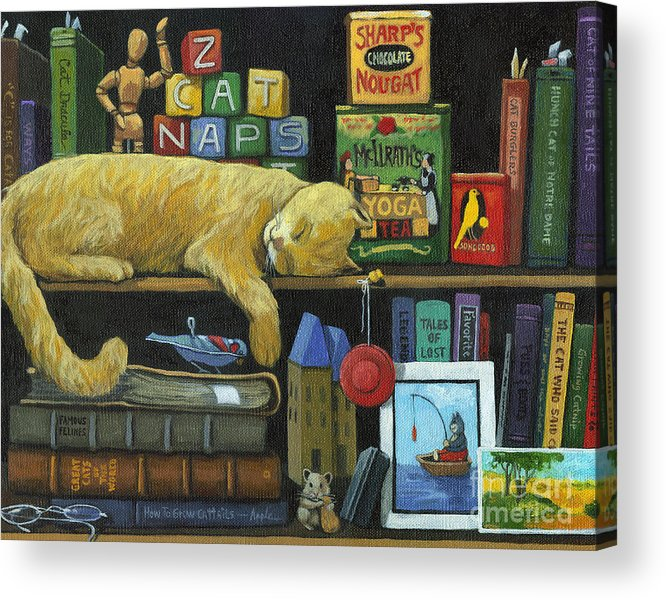 Cat Acrylic Print featuring the painting Cat Naps - Old Books Oil Painting by Linda Apple
