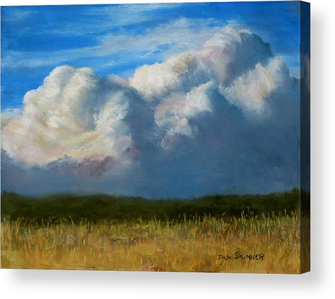 Clouds Acrylic Print featuring the painting Clouds Over The Meadow by Jack Skinner