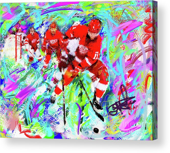 Sports Acrylic Print featuring the painting Dan Cleary And 5 by Donald Pavlica