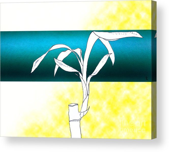 Bamboo Acrylic Print featuring the painting Essence Yellow by Carlos De Las Heras