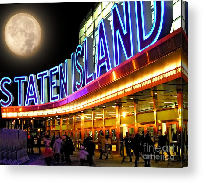 Moon Acrylic Print featuring the photograph Faux Moon At The Staten Island Ferry by Anne Ferguson