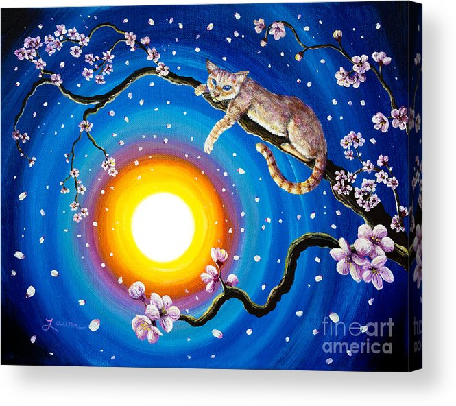 Flame Point Acrylic Print featuring the painting Flame Point Siamese Cat In Cherry Blossoms by Laura Iverson