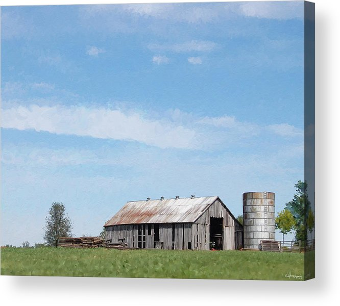 Barn Acrylic Print featuring the digital art George's Barn by Christopher A Newman