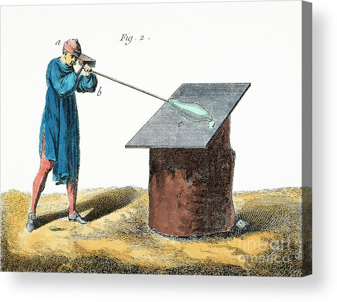 18th Century Acrylic Print featuring the photograph Glassblower, 18th Century by Granger