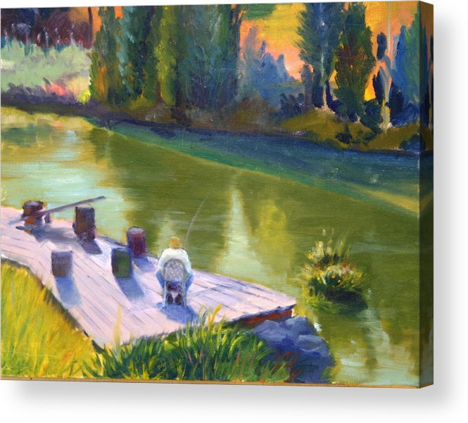 Landscape Acrylic Print featuring the painting Gone Fishing by Judy Howard