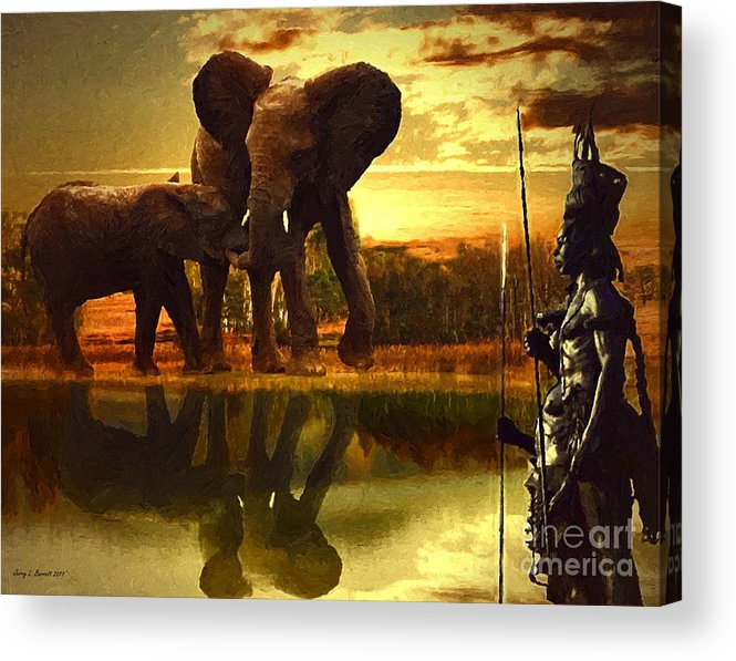 Tribe Acrylic Print featuring the mixed media Guardians by Jerry L Barrett