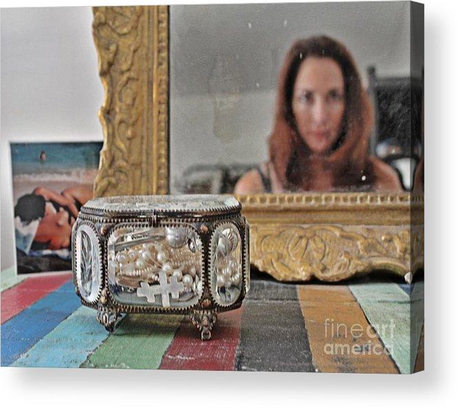 Self Portrait Acrylic Print featuring the mixed media Il Est Complique by Lauren Serene