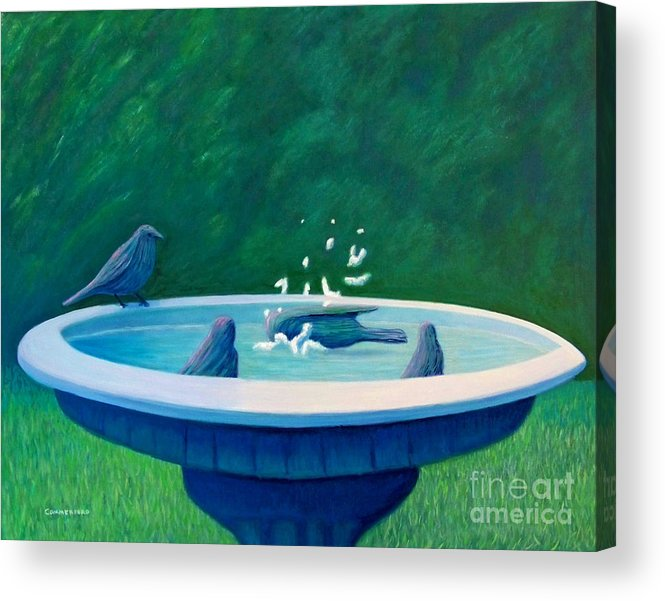 Birds Acrylic Print featuring the painting In The Garden by Brian Commerford