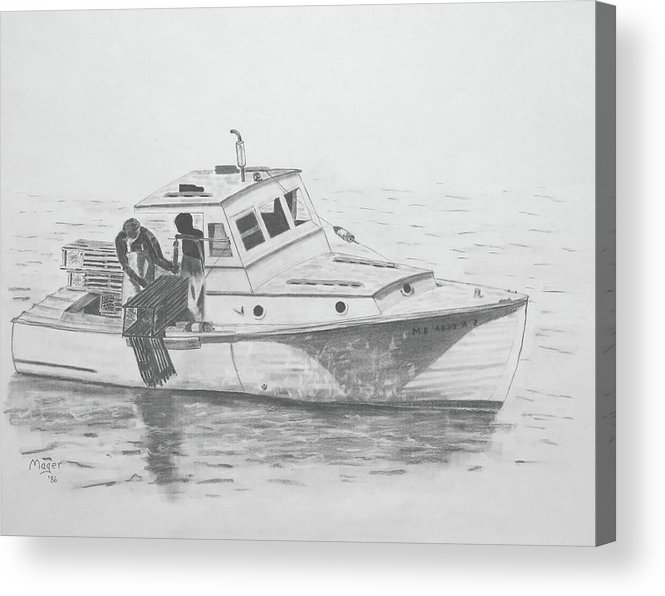 Drawing Acrylic Print featuring the painting Maine Lobster Boat by Alan Mager