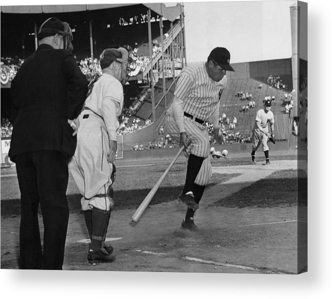 1940s Acrylic Print featuring the photograph Major League Baseball. From Left Former by Everett