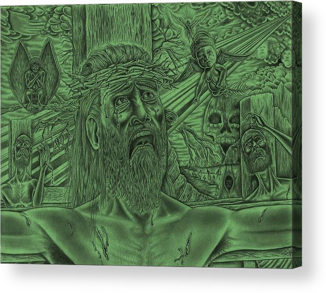 Jesus Acrylic Print featuring the drawing Master Of Me by Vincnt Clark