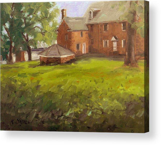 Bucks County Acrylic Print featuring the painting Mcconkey Ferry Inn At Washington Crossing Park by Kit Dalton