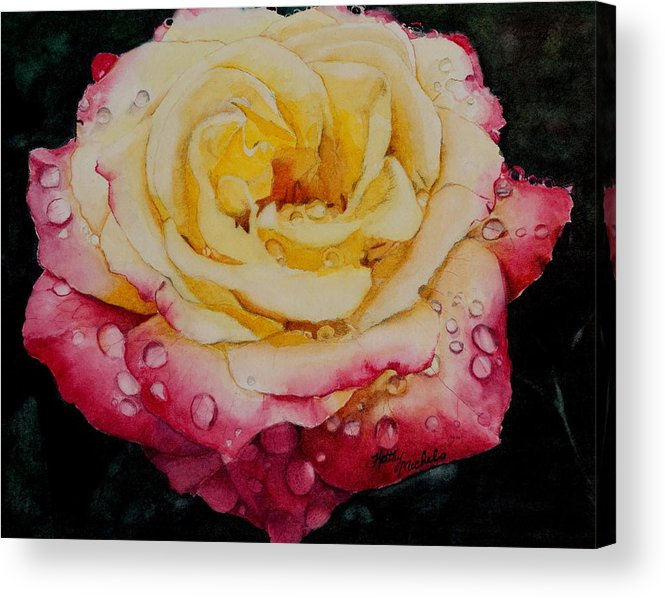 Rose Acrylic Print featuring the painting Morning Rose by Kathy Michels