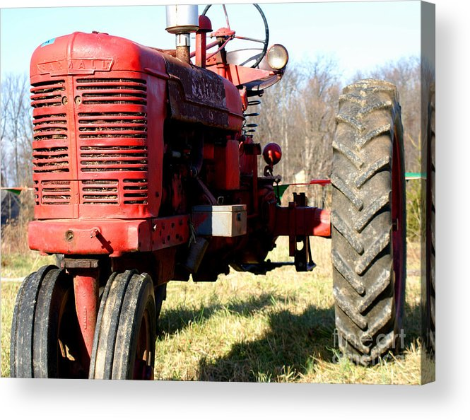 Tractor Acrylic Print featuring the photograph Old Time Tractor by Angela DiPietro