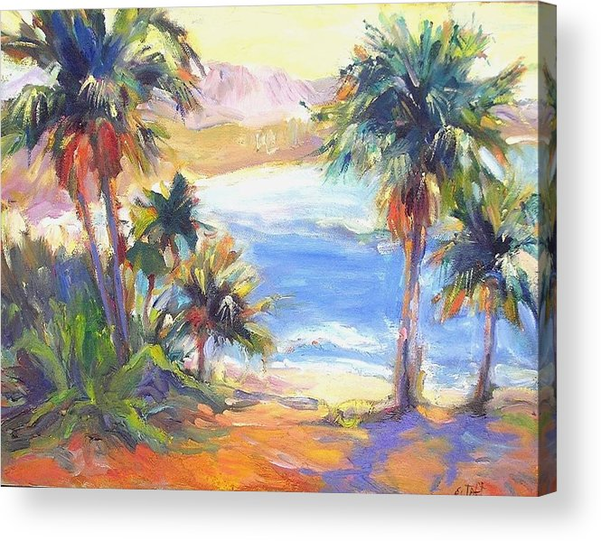 La Jolla Beach Palms Bright Color Wildlife Nature Tropical Acrylic Print featuring the painting Palms And Ocean by Elizabeth Taft