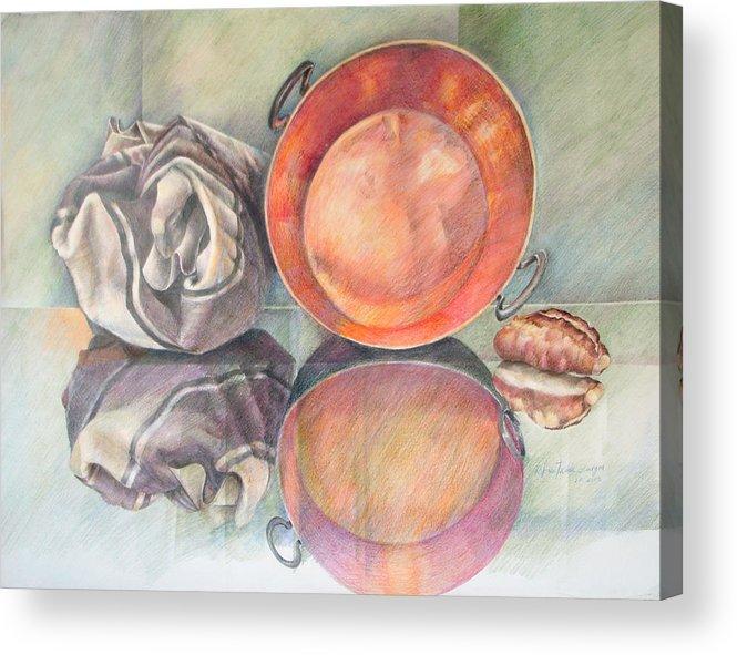 Copper Acrylic Print featuring the drawing Perol Con Bulto Y Pan by Sonia Tudela