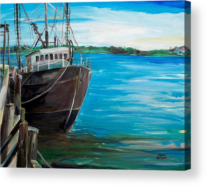 Fishing Boat Acrylic Print featuring the painting Portland Harbor - Home Again by Scott Nelson