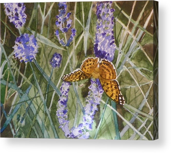 Butterfly Acrylic Print featuring the painting Queen Of Spain Fritillary And Lavender II by Marty Bielefeldt