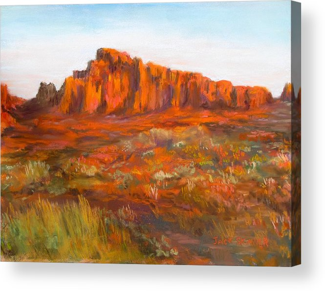 Red Cliffs Acrylic Print featuring the painting Red Cliffs by Jack Skinner