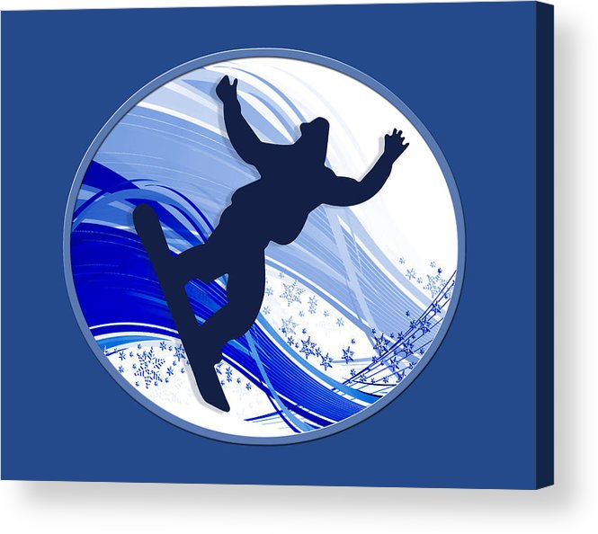 Snowboard Acrylic Print featuring the painting Snowboarding And Snowflakes by Elaine Plesser