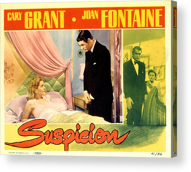 1940s Movies Acrylic Print featuring the photograph Suspicion, Joan Fontaine, Cary Grant by Everett