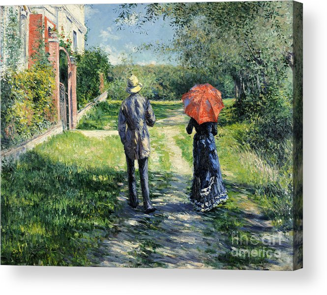 The Path Uphill Acrylic Print featuring the painting The Path Uphil by Gustave Caillebotte
