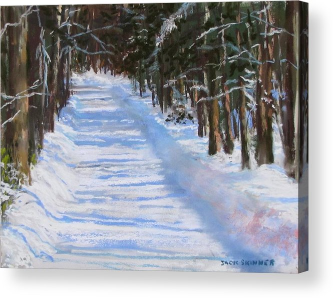 Snow Acrylic Print featuring the painting The Valley Road by Jack Skinner