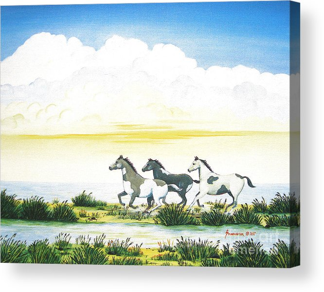 Chincoteague Acrylic Print featuring the painting Indian Ponies by Jerome Stumphauzer