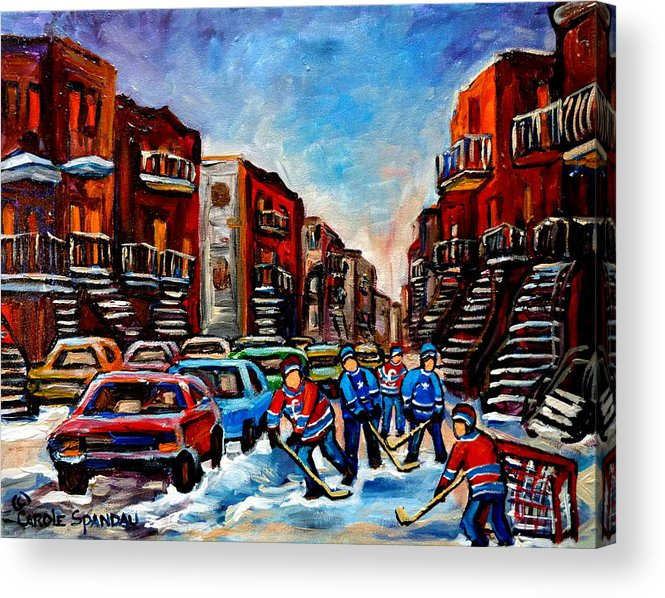 Montreal Acrylic Print featuring the painting Late Afternoon Street Hockey by Carole Spandau