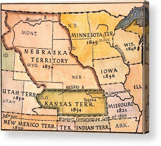 1854 Acrylic Print featuring the painting Kansas-nebraska Map, 1854 by Granger