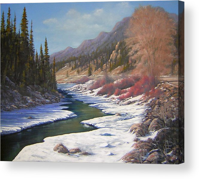 Landscape Acrylic Print featuring the painting 060328-2822  Remnants Of Winter  by Kenneth Shanika