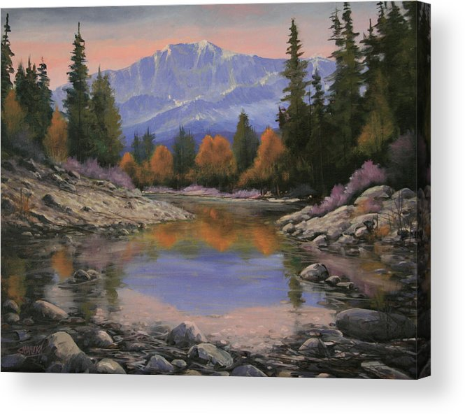 Landscape Acrylic Print featuring the painting 080120-1814 October View - Pikes Peak by Kenneth Shanika