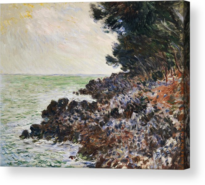 Cap Martin (oil On Canvas) Impressionism; Impressionist; Landscape; Seascape; Tree; Rock; Rocky; Coast; Coastal; Sea; Ocean; French Acrylic Print featuring the painting Cap Martin by Claude Monet