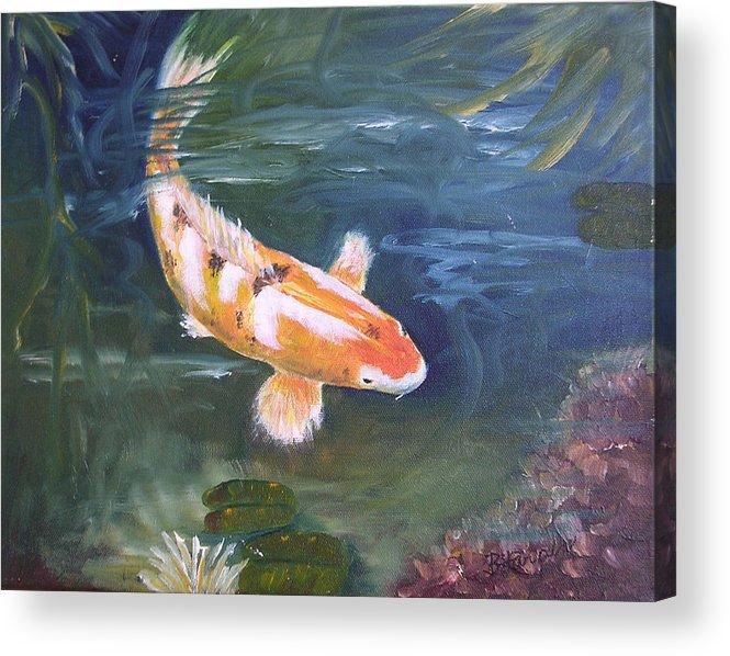 Koi Acrylic Print featuring the painting Doitsu Koi by Barbara Harper
