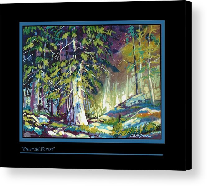Pastoal Forest Glen With Trees And Rocks Oil Painting Acrylic Print featuring the painting Emerald Forest by Walt Green