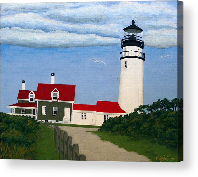 Lighthouse Paintings Acrylic Print featuring the painting Highland Lighthouse by Frederic Kohli