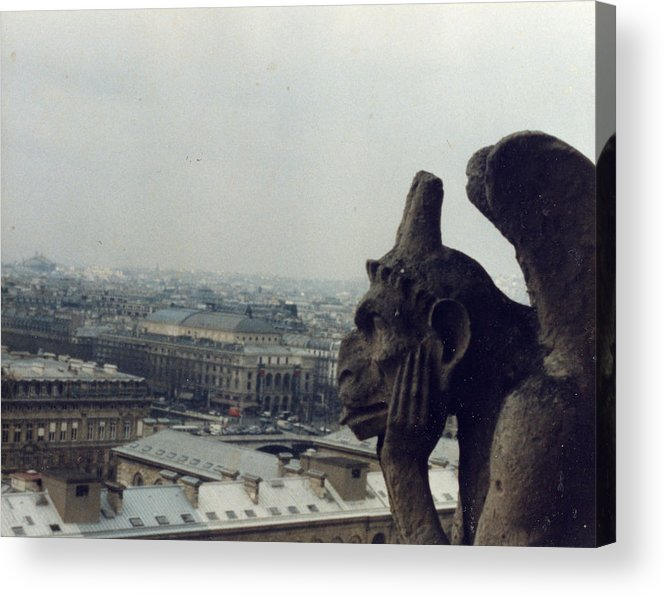 Gargoyle Acrylic Print featuring the photograph I Hate Paris by Jennifer Ott